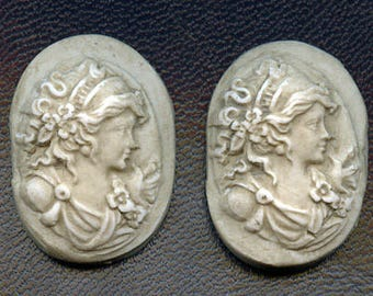 2  Faux Marble Polymer  Cabs Un drilled Art Nouveau faces ANP 2