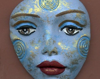 Polymer Clay Large Blue and Gold   Detailed Tribal Face  Un Drilled LGST 1