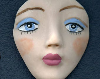 Medium Blue Eyed   Detailed Polymer Face  Un Drilled BLG 1