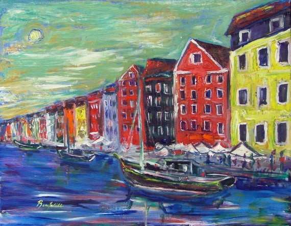 Seascape Art Copenhagen Denmark  - Fine Art Print Giclee from Original Oil Painting by BenWill