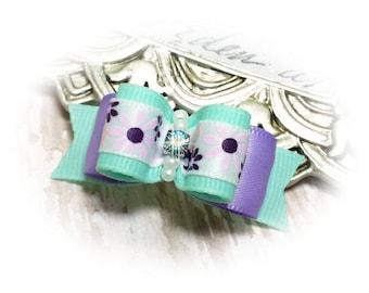 Topknot Dog Bow, Aqua Pet Hair Bow, Pet Bow with Flowers, Lilac Dog Bow