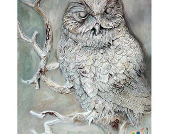 Owl Oil Painting , Barn Owl Oil Painting 16x20in
