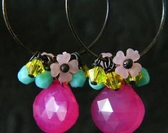 SALE Pink Chalcedony Sterling Silver Hoop Earrings