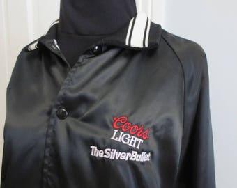 Vintage Coors Light Jacket Embroidred Satin Bomber X Large XL Beer Designer Pro Black