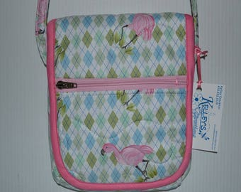 Quilted Fabric Cross Body  Hip Bag with Flamingo Birds