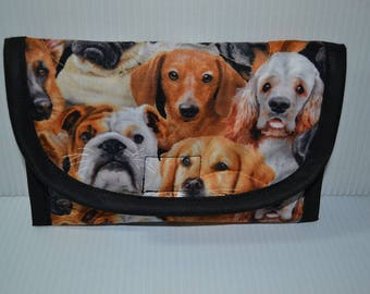 Quilted Fabric Wallet Clutch with Dogs