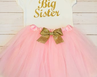 BIG sister or LITTLE sister OUTFIT sparkle gold cursive and layered tulle tutu skirt in light pink with gold bow accent-