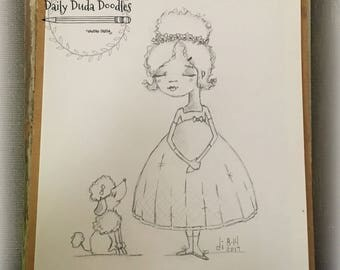Daily Duda Doodles - #5 Who's a Pretty Girl? - Original Pencil Sketch by Diane Duda
