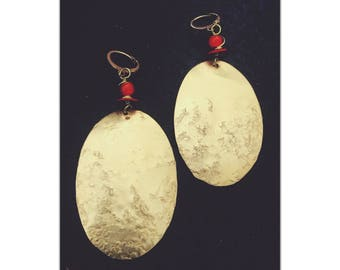 Brass & Coral Earrings - Statement Earrings - Oval Textured Earrings - oversized statement earrings - FREE Shipping USA