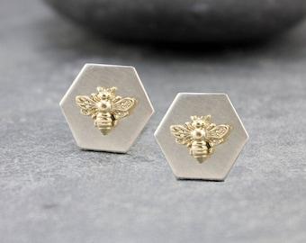 BEE MINE Cufflinks III, 14K Solid Gold, 14K yellow gold, Cuff, Sleeve, Cufflinks, Hexagon, Bee, for men