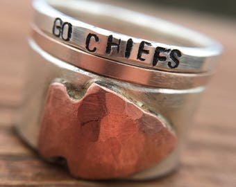 KC Chiefs Arrowhead Stacking Rings