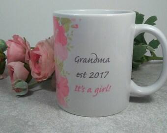 New Grandparents mug, new grandma gift, grandma grandpa mug, it's a girl mug, custom mug design, new grandma gift, grandparent reveal gift