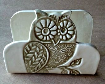 Owl Ceramic Kitchen Sponge Holder recipe card holder Business card holder