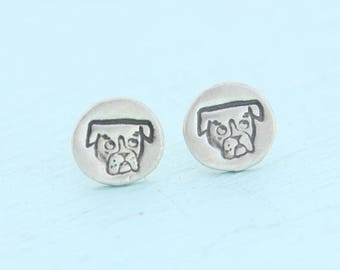 ON SALE BOXER Stud Earrings illustrated by Gemma Correll -  sterling silver posts handmade by Chocolate and Steel