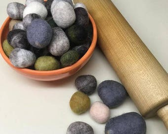 100% wool felted stones, set of 24