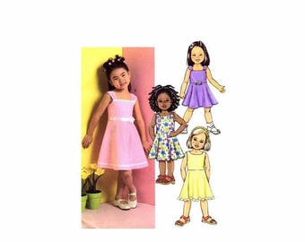 SALE Girls Flared Dress Butterick 4718 Sewing Pattern Size 6 - 7 - 8 UNCUT