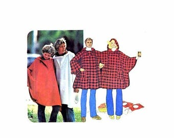 SALE 1970s Misses and Mens Poncho and Double Poncho McCalls 5684 Vintage Sewing Pattern UNCUT