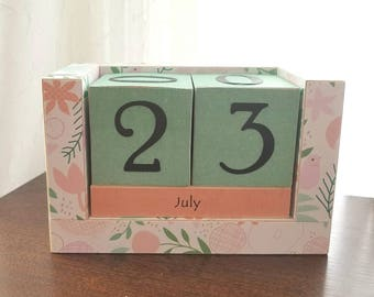 Perpetual Wooden Block Calendar - Little Spring Wild Flowers and Birds - Great Gift - Turquoise and Coral