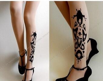 30%off/endsJUL23/ sexy SKULLS and HEARTS Tattoo thigh-high socks light mocha xs/x/m