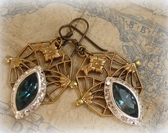 september morn one of a kind vintage assemblage earrings vintage nouveau style filigrees vintage rhinestone navette vintage czech sapphire