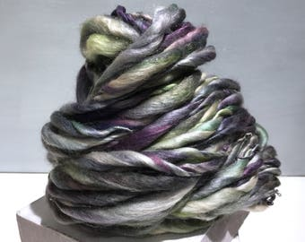 "Thick Thin Yarn bulky yarn ""Moonlit Garden"" silver grey violet purple yellow green Crochet Knitting weaving yarn, 50/50 Merino Silk yarn"