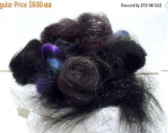 KIT SALE Black Fiber Art kit Sampler, wool, Black Angelina firestar glitz, Needle Wet Felting Spinning, black palette, mini batt, Black rovi