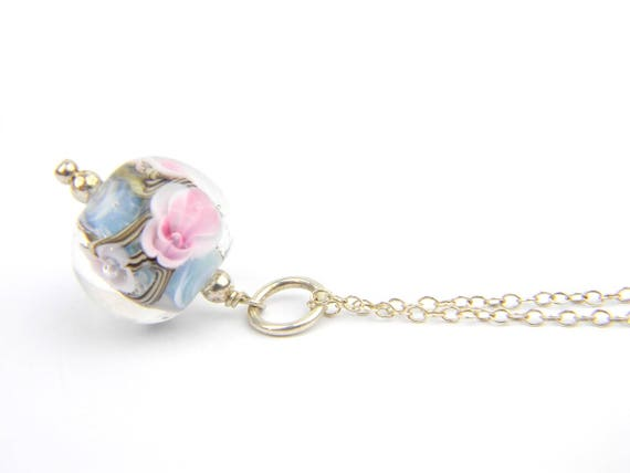 Art Glass Pendant - Medium Blue and Pink Art Glass Bead Sterling Silver Pendant - Classic Collection