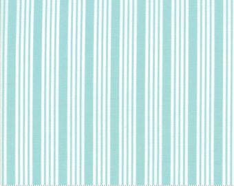 The Good Life - Stripe in Aqua Blue: sku 55157-12 cotton quilting fabric by Bonnie and Camille for Moda Fabrics