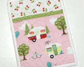 Camper RV Pocket Pot holder-Glamping-Pink_Handmade-Quilted Hot Pad-Camping