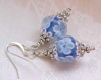 Easter Egg Earrings Easter Earrings Blue Earrings Yellow Earrings Lampwork Roses Earrings Easter Flower Earrings Lampwork Beads