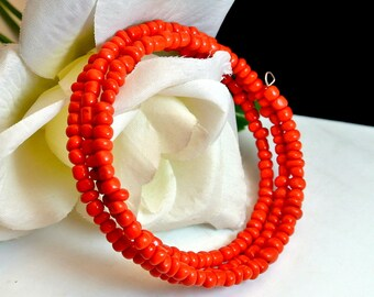 Coral Plastic Bead Wire Cuff Bracelet 1980 Cuff Bracelet Coral 4 MM Bead Bracelet Costume Jewelry Wrap Bracelet