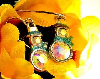 Snowman Dangle Earrings Vintage Silver Tone Snowman Iridescent Rhinestone Snowmen Earrings Christmas Jewelry