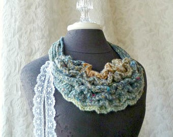 Bustle Collar in Aqua, Blue, Tan from the Wild West Series - Wearable Fiber Art
