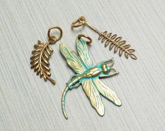 Vintaj Vogue Dragonfly fern pendant/charms