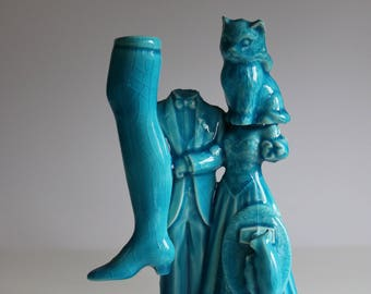 Blue Ceramic Collage Sculpture with headless couple and kitty