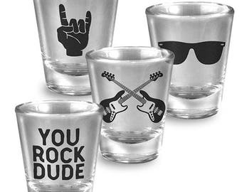 You Rock Dude - Set of 4 - Shot Glass glassware set gold leaf - Fun Gift Set - Comes Gift Boxed - By Trixie and Milo