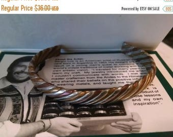 SALE TODAY In Original Box Vintage Sergio Lub Bracelet Signed Mixed Metal Silver Copper Brass Woven Cuff Bracelet