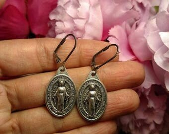 Flash Sale Holy Relics Blessed Virgin Mary Silver Religious Medal Earrings Pierced