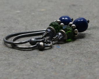 Lapis Earrings Chrome Diopside, Iolite Blue Green Earrings Oxidized Sterling Silver Petite Gemstone Stack