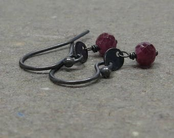 Ruby Earrings Petite Minimalist Disc Raspberry Red Oxidized Sterling Silver Earrings Gift for Girlfriend Gift for Mom