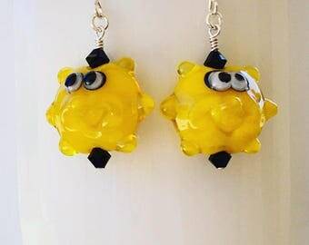 Swarovski Crystal and Lampwork Beaded Dangle Earrings handmade funny sunny bright