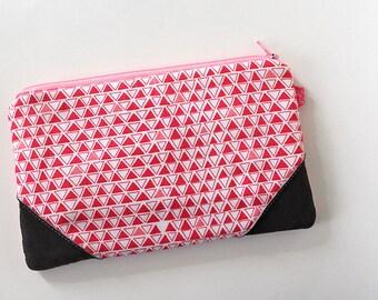 zipper pouch, cash envelope, Eyeglass case, Pen pencil, cash wallet, Cosmetic makeup case, Black leather bag, sunglasses case, Pink triangle