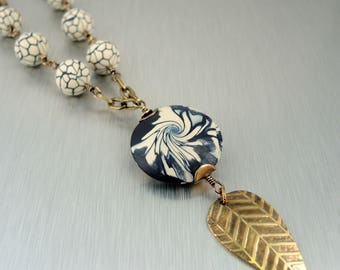 Brass and Polymer Clay necklace - Navy and Cream Polymer Necklace - Etched Brass Pendant