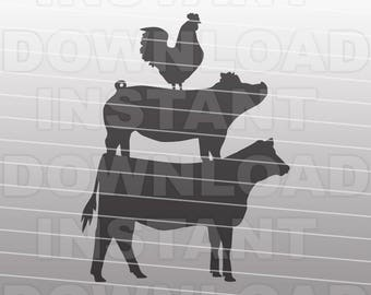 Stacked Farm Animals SVG File,Cow SVG,Pig svg,Chicken svg,4-H svg -Vector Art for Commercial & Personal Use- Silhouette,Cricut,Cameo,Vinyl