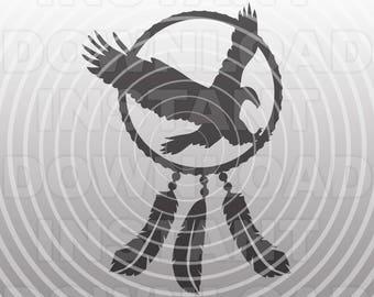 Eagle SVG File,Dreamcatcher Eagle svg,Indian svg,Cowboy svg -Vector Art Commercial-Personal Use- Cricut Explore,Silhouette,Cameo,Vinyl Decal
