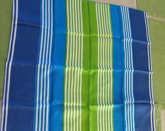 Vintage Vera Neumann Lime Turquoise Teal White Stripe Silk Scarf