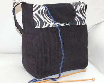 Black and white, corduroy, Knitting Bag, VEGAN, Vinyl Interior, CLASSIC, Lots of Pockets, girl's bag, crochet organizer, knitting project