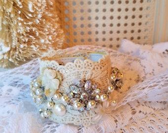 Romantic Lace Cuff Bracelet, Vintage Rhinestones, Pearls, Jewels