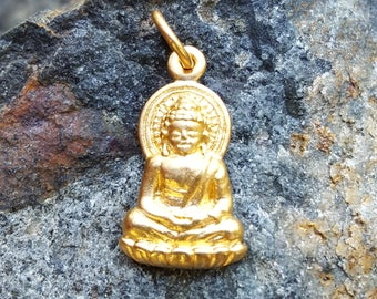 Gold Buddha Necklace Charm - 24K Gold over Bronze - Small Gold Buddha Necklace - Yoga Jewelry