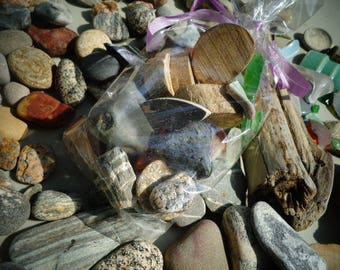 Sea Stones, Sea Rocks from Coastal Maine Sea Glass/Pottery Shards/Dtiftwood Pieces  etc
